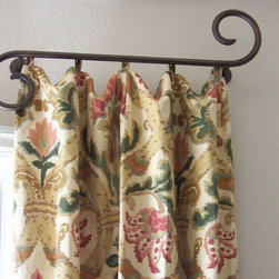 window treatments - Step outisde the box with this hand finished iron scroll drapery hardware. Many styles and finishes to choose from. This relaxed header drapery has small loops to casually hang from the pegs on this scroll.