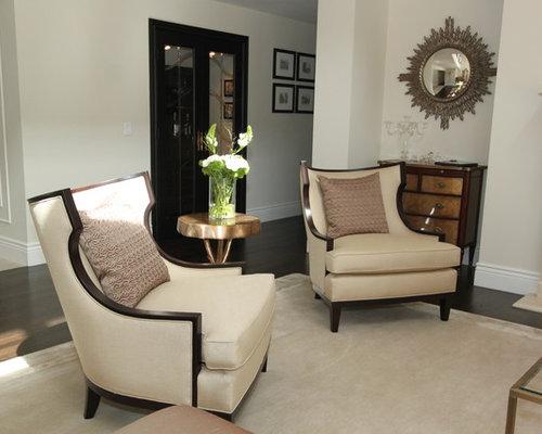 Contemporary Dark Wood Floor Living Room Idea In San Francisco