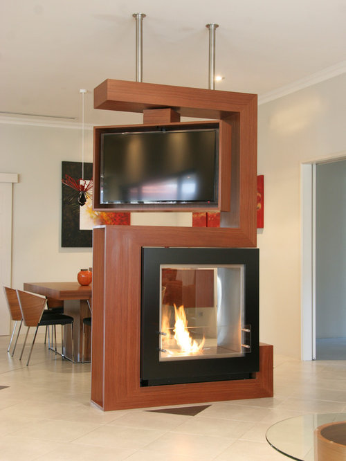 Tv room divider home design ideas pictures remodel and decor - Muebles de chimenea ...