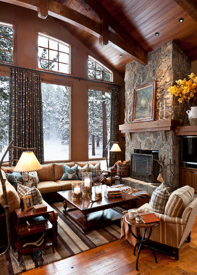 Rustic Living Room by Barclay Butera Interiors