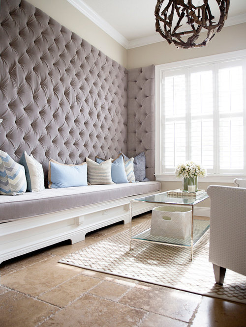 Upholstered wall houzz for Padded wall wallpaper