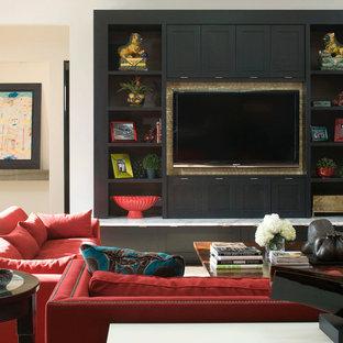 Immagine di un soggiorno contemporaneo con parete attrezzata