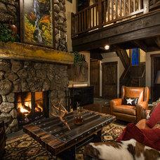 Rustic Living Room by Chris Quinones Design Associates