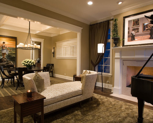 Elegant Living Room Photo In Chicago With Beige Walls And A Standard Fireplace