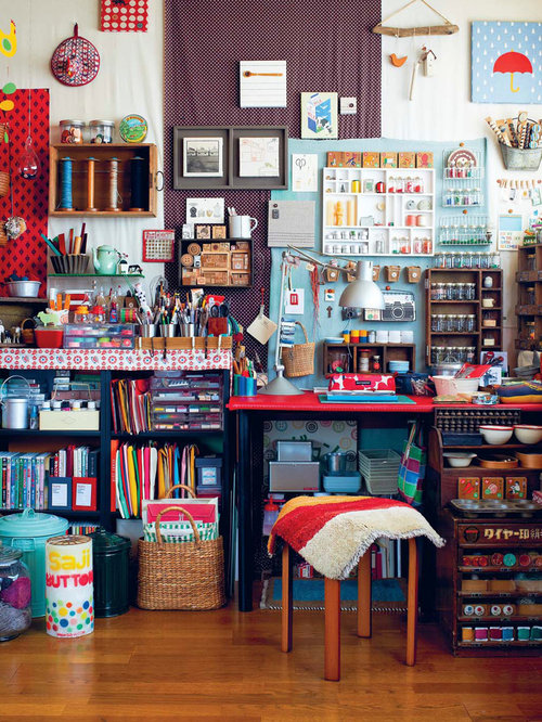 Craft room home design ideas pictures remodel and decor for Eclectic crafts room