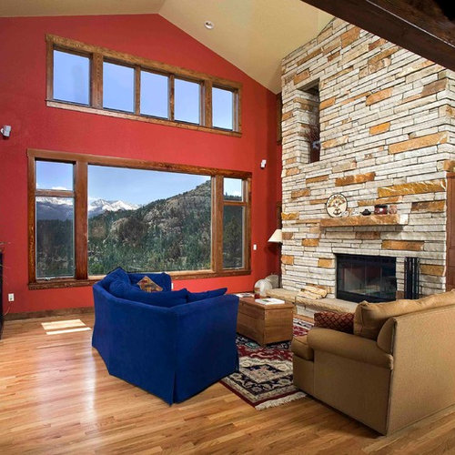 Mid Sized Mountain Style Open Concept Living Room Photo In Denver With Red  Walls,