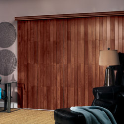 """Wood, Faux Wood and Fabric Blinds - Wood Vertical Blind: Saddle Brown 1694; 3-1/2"""" traditional wood valance"""
