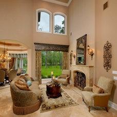 Mediterranean Living Room by Gary Keith Jackson Design Inc