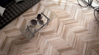 Wood-look tiles with auto-leveling technolgy