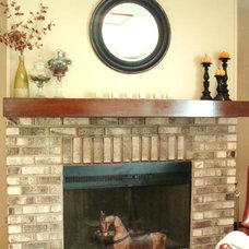 Eclectic Living Room Wood Paneling Fireplace Makeover
