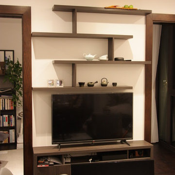 Wood veneer custom made media unit with floating shelves and wardrobe