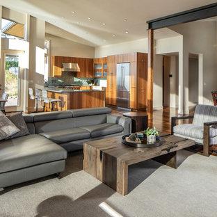 Mid Sized Trendy Open Concept Dark Wood Floor And Brown Floor Living Room  Photo In
