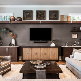 Mid Sized Trendy Open Concept Medium Tone Wood Floor And Brown Living Room Photo