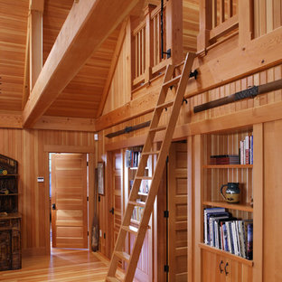 Example of a mountain style living room library design in Bridgeport