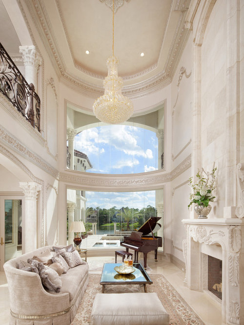 Huge Mediterranean Living Room Idea In Houston With A Music Area White Walls And