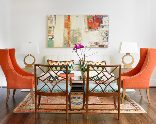 abstract wall art for living room. Inspiration for a transitional dark wood floor living room remodel in  Atlanta with white walls and Abstract Wall Art Houzz