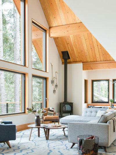Rustic Living Room by Regan Baker Design Inc.