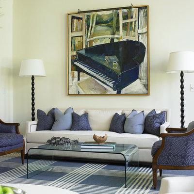 Elegant living room photo in Atlanta with white walls