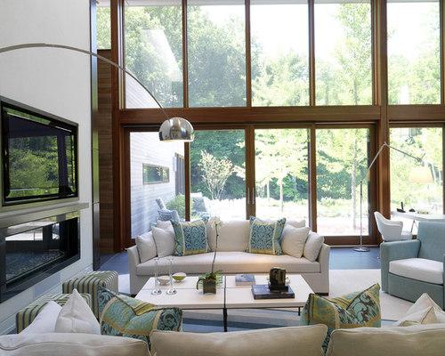 Tv in front of window houzz for B q living room doors