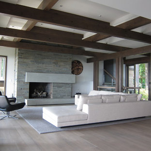 Ejemplo de salón para visitas abierto, actual, grande, con paredes blancas, chimenea tradicional, suelo de madera clara, marco de chimenea de piedra y suelo beige