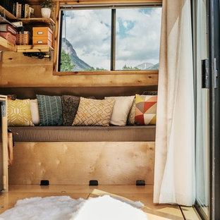 Living room - small rustic open concept light wood floor living room idea in Denver
