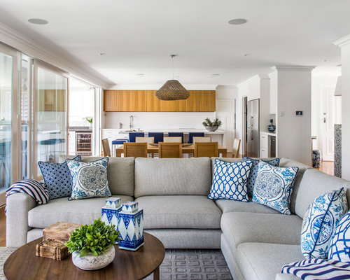 Trendy open concept living room photo in BrisbaneBlue Throw Pillows   Houzz. Living Room Sofa Pillows. Home Design Ideas