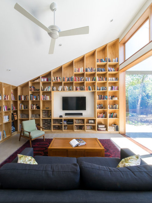 Inspiration For A Contemporary Enclosed Living Room In Melbourne With A  Library, White Walls,