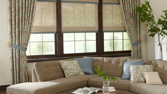 woven wood Roman shades with banding