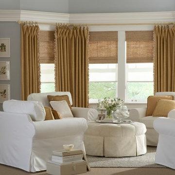 Woven Wood Shades with custom drapery