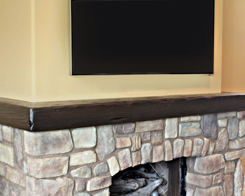 Wrap Around Reclaimed Wood Mantel