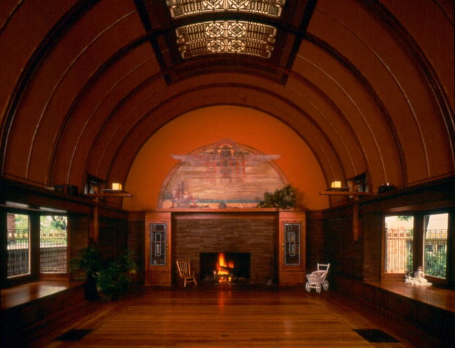 Traditional Living Room by Frank Lloyd Wright Preservation Trust