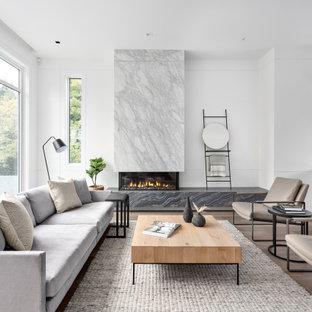 バンクーバーの中サイズのコンテンポラリースタイルのおしゃれな独立型リビング (白い壁、カーペット敷き、吊り下げ式暖炉、壁掛け型テレビ) の写真