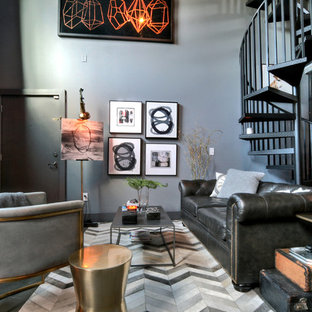 Living Room   Industrial Open Concept Living Room Idea In Miami With Gray  Walls