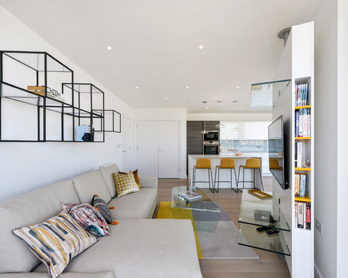 Photo Of A Medium Sized Contemporary Open Plan Living Room In London With  White Walls,