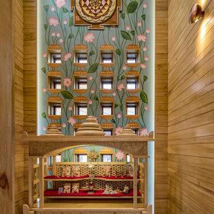 Idée de décoration pour une salle de séjour asiatique de taille moyenne avec un sol gris.