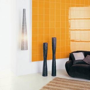 Foto di un piccolo soggiorno moderno aperto con sala giochi, pareti bianche e pavimento in gres porcellanato