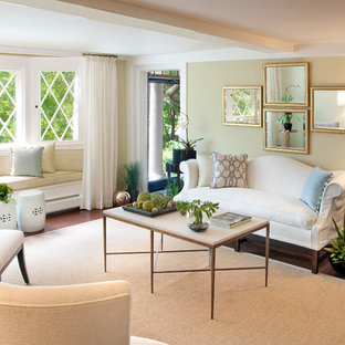 Inspiration for a contemporary living room remodel in Portland Maine with beige walls