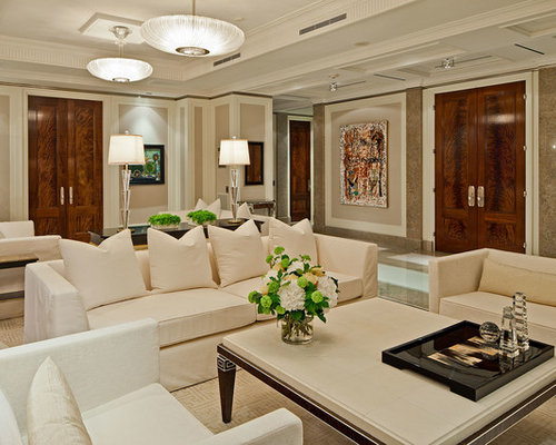 Example Of A Huge Transitional Living Room Design In Toronto With Beige  Walls