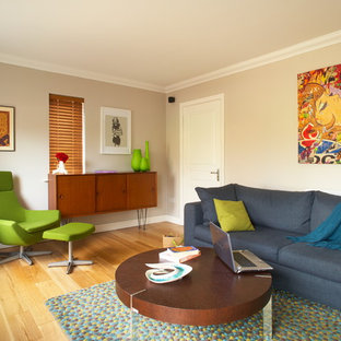 Design ideas for a bohemian living room in Dublin with beige walls.