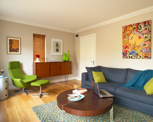 Example Of An Eclectic Living Room Design In Dublin With Beige Walls Part 2