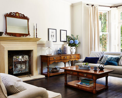Design Ideas For A Classic Formal Living Room In Other With White Walls,  Dark Hardwood