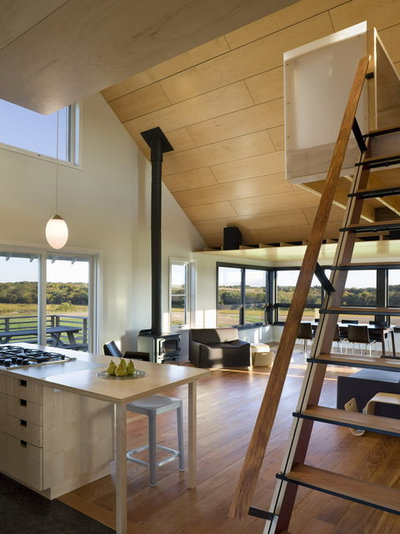 Farmhouse Living Room by DeForest Architects