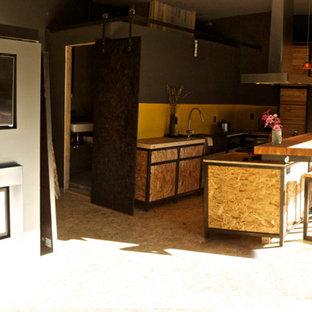 Idee per un piccolo soggiorno design stile loft con pareti grigie, camino classico, cornice del camino in metallo e parete attrezzata