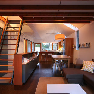 Inspiration for a small modern cork floor living room remodel in Seattle with white walls