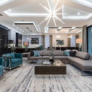 Esempio di un soggiorno design aperto con sala formale, pareti bianche e pavimento bianco