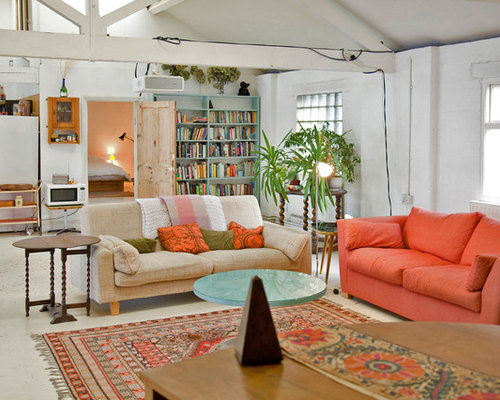 this is an example of a medium sized eclectic open plan living room in london with - Design Ideas For Living Rooms
