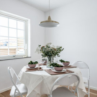 Kitchen/dining room combo - scandinavian laminate floor and brown floor kitchen/dining room combo idea in Other with white walls