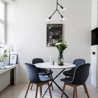 Inspiration för små minimalistiska matplatser, med vita väggar och beiget golv