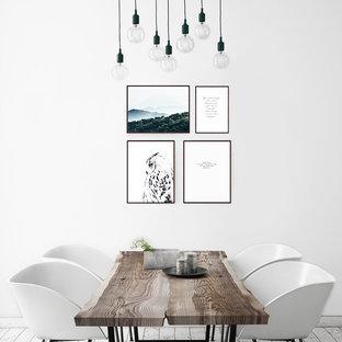 Стильный дизайн: столовая среднего размера в скандинавском стиле с белыми стенами без камина - последний тренд
