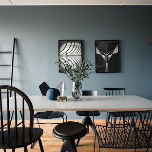 Exempel på ett modernt kök med matplats, med blå väggar, mellanmörkt trägolv och brunt golv